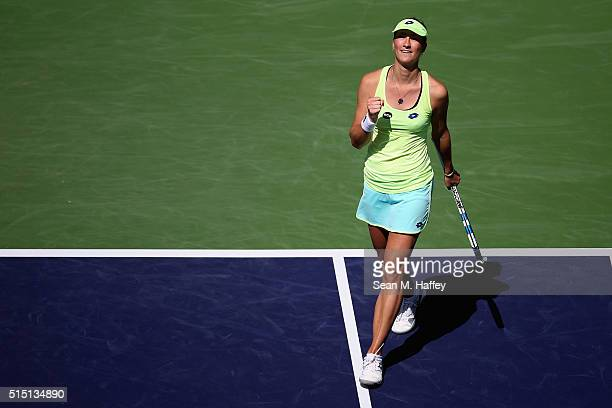 Denisa Allertova of Czech Republic reacts during her match against Angelique Kerber of Germany during the BNP Paribas Open at the Indian Wells Tennis...
