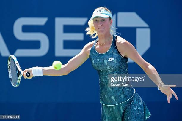 Denisa Allertova of Czech Republic returns a shot against Naomi Osaka of Japan during their second round Women's Singles match on Day Four of the...