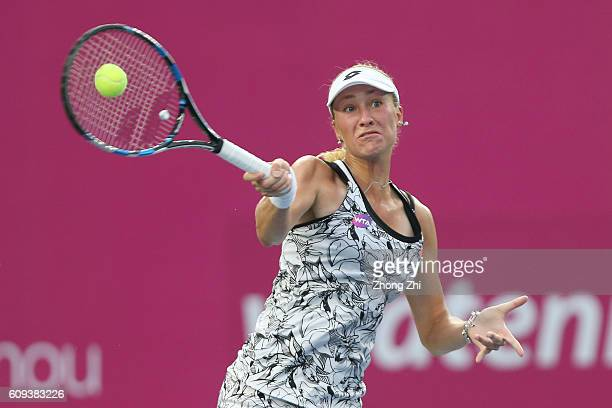 Denisa Allertova of Czech Republic returns a shot during the match against Viktorija Golubic of Switzerland on Day 2 of WTA Guangzhou Open on...
