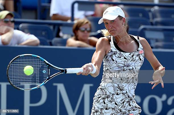 Denisa Allertova of Czech Republic returns a shot to Ana Ivanovic of Serbia during her first round Women's Singles match on Day Two of the 2016 US...