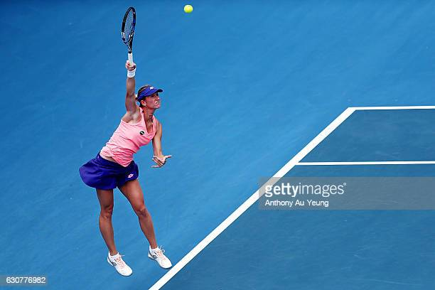 Denisa Allertova of Czech Republic serves in her match against Lucie Safarova of Czech Republic on day one of the ASB Classic on January 2 2017 in...