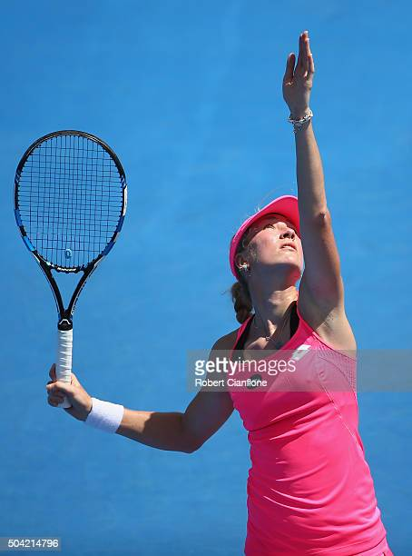 Denisa Allertova of Czech Republic serves in the women's singles match against Alize Cornet of France during day one of 2016 Hobart International at...