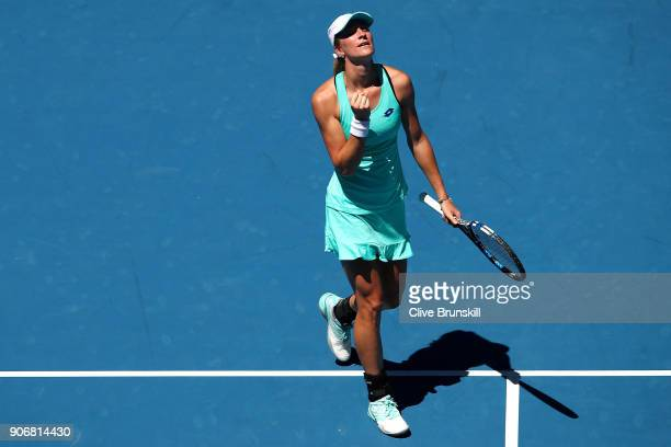 Denisa Allertova of the Czech Republic celebrates winning match point in her third round match against Magda Linette of Poland on day five of the...
