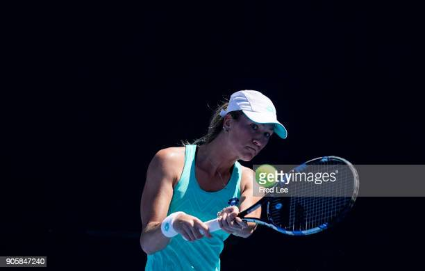 Denisa Allertova of the Czech Republic plays a backhand in her second round match against Shuai Zhang of China on day three of the 2018 Australian...