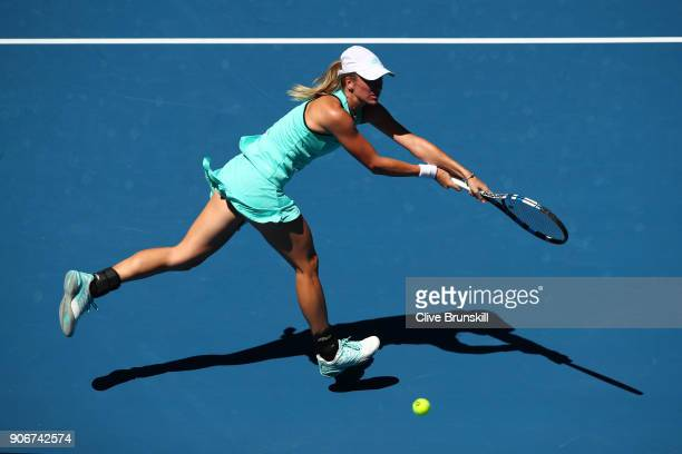 Denisa Allertova of the Czech Republic plays a backhand in her third round match against Magda Linette of Poland on day five of the 2018 Australian...