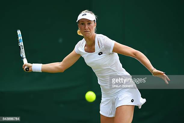 Denisa Allertova of The Czech Republic plays a forehand during the Ladies Singles second round match against Carla Suarez Nevarro on day four of the...