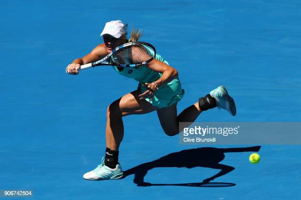 Denisa Allertova of the Czech Republic plays a forehand in her third round match against Magda Linette of Poland on day five of the 2018 Australian...
