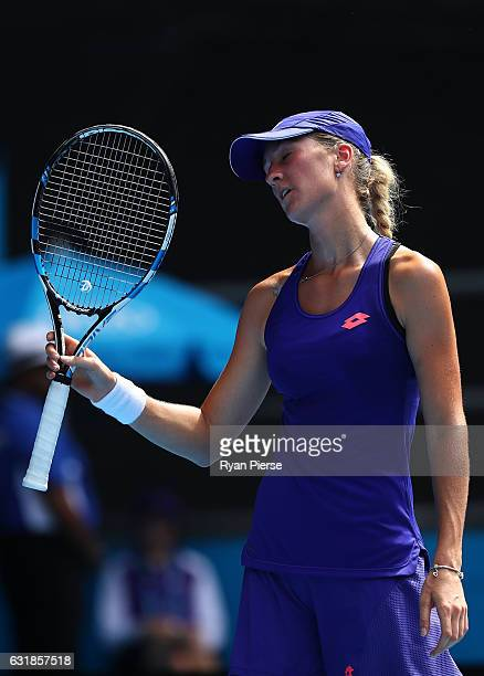 Denisa Allertova of the Czech Republic reacts in first round match against Dominika Cibulkova of Slovakia on day two of the 2017 Australian Open at...