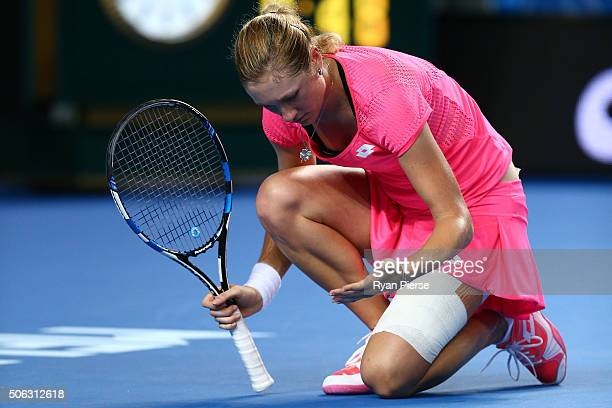 Denisa Allertova of the Czech Republic reacts in her third round match against Johanna Konta of Great Britain during day six of the 2016 Australian...