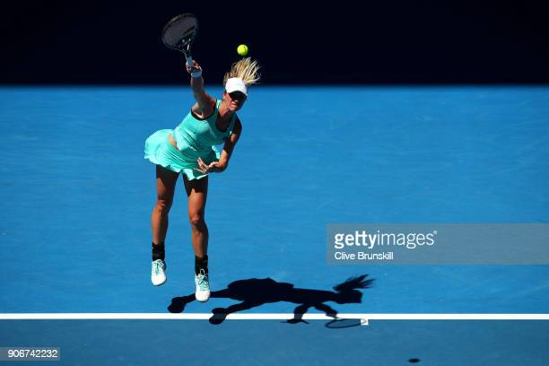 Denisa Allertova of the Czech Republic serves in her third round match against Magda Linette of Poland on day five of the 2018 Australian Open at...