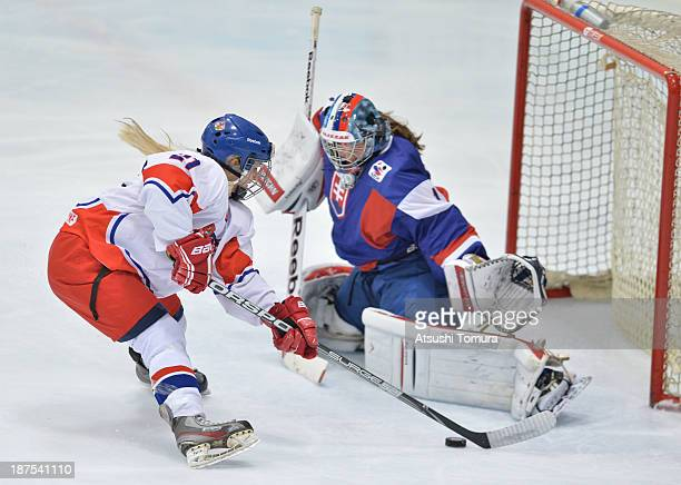 Denisa Krizova of Czech Republic shoots against Romana Kiapesopva of Slovakia in the match between Slovakia and Czech Republic during day four of the...