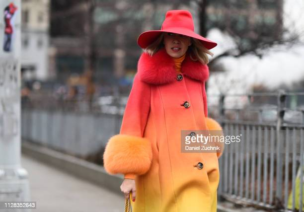 Denisa Palsha is seen wearing a Saks Potts coat Lola hats outside the Brock Collection show during New York Fashion Week Fall/Winter 2019 on February...