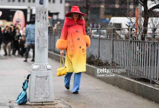 Denisa Palsha is seen wearing a Saks Potts coat Stella McCartney jeans Lola hats and a Gucci bag outside the Brock Collection show during New York...