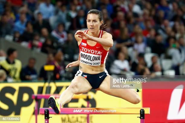 Denisa Rosolova of the Czech Republic competes in the Women's 400 metres hurdles heats during day four of the 16th IAAF World Athletics Championships...
