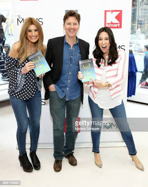Denise Albert actor and author Andrew McCarthy and Melissa Musen Gerstein attend The Moms In Conversation With Andrew McCarthy at Kmart on March 28...