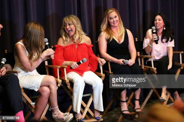 Denise Albert Goldie Hawn Amy Schumer and Melissa Musen Gerstein attend The MOMS In Conversation With Amy Schumer And Goldie Hawn at Park Avenue...