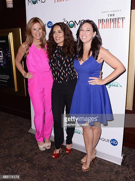 Denise Albert Salma Hayek and Melissa Musen Gerstein attend a Mamarazzi Event celebrating The Prophet hosted by THE MOMS with Funoogles and Plaque HQ...