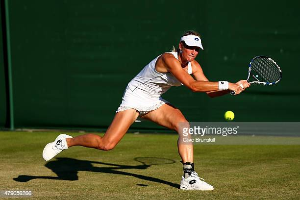 Denise Allertova of the Czech Republic in action in her Ladies Singles first round match against Katerina Siniakova of the Czech Republic during day...
