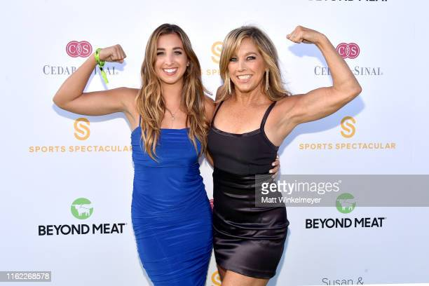 Denise Austin and guest attend the 34th Annual Cedars-Sinai Sports Spectacular at The Compound on July 15, 2019 in Inglewood, California.
