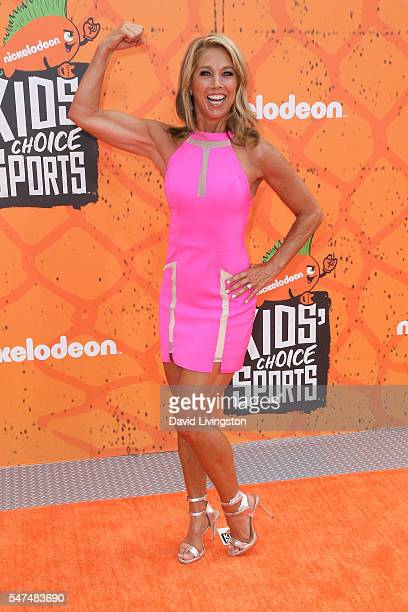 Denise Austin arrives at the Nickelodeon Kids' Choice Sports Awards 2016 at the UCLA's Pauley Pavilion on July 14 2016 in Westwood California