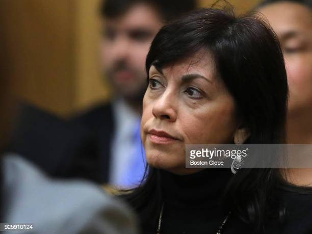 Denise Bastos watches the proceeding from the gallery during a hearing in New Bedford District Court in New Bedford MA on Feb 28 2018 Judge John P...