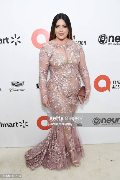Denise Bidot attends the 28th Annual Elton John AIDS Foundation Academy Awards Viewing Party sponsored by IMDb Neuro Drinks and Walmart on February...