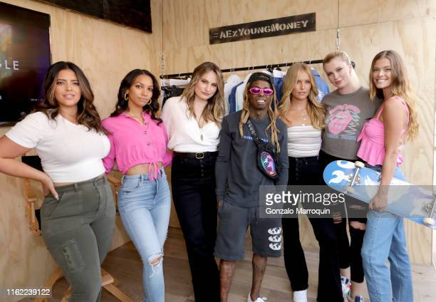 Denise Bidot Corrine Foxx Kathryn Gallaghar Lil Wayne Sailor Brinkley Cook Ireland Baldwin and Nina Agdal attend the AE x Young Money Collab and Fall...