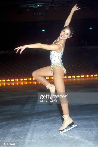 Denise Biellmann bei Proben für Holiday on Ice 1986