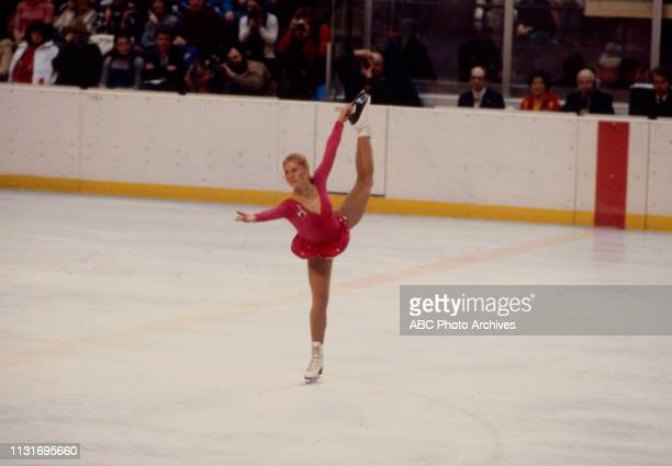 Denise Biellmann competing in the Women's figure skating event at the 1980 Winter Olympics / XIII Olympic Winter Games, Olympic Center.