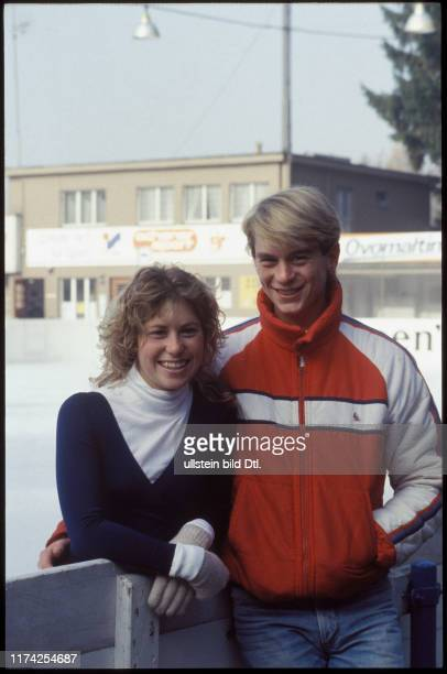 Denise Biellmann mit Verlobtem Colin Dawson, 1983
