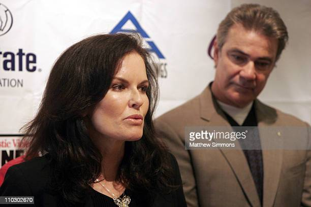Denise Brown and Victor Rivers during The National Domestic Violence Hotline Presents The Decade For Change Press Conference at LA Press Club in Los...