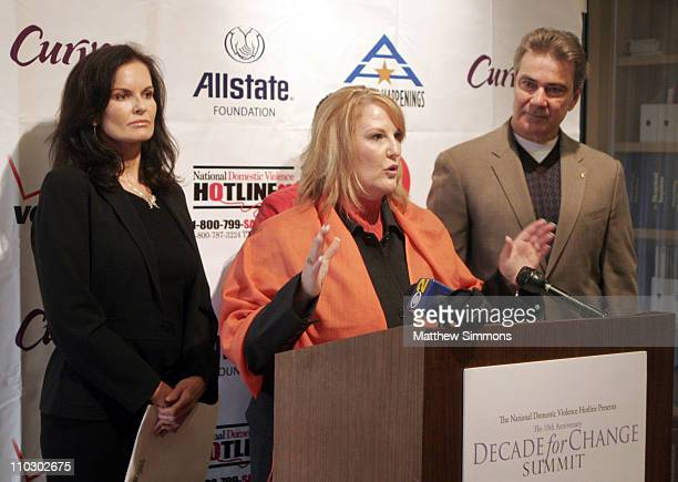 Denise Brown Sheryl Cates and Victor Rivers during The National Domestic Violence Hotline Presents The Decade For Change Press Conference at LA Press...
