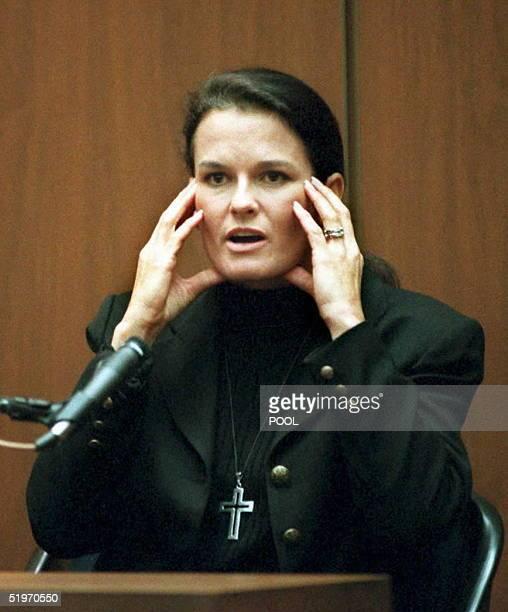 Denise Brown the sister of murder victim Nicole Brown Simpson testifies in Superior Court in Los Angeles 06 February that murder defendant OJ Simpson...