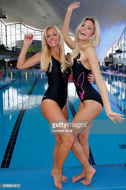 Denise Cotte and Delfina Aziri attend the TV Total Turmpringen photocall on November 28 2014 in Munich Germany