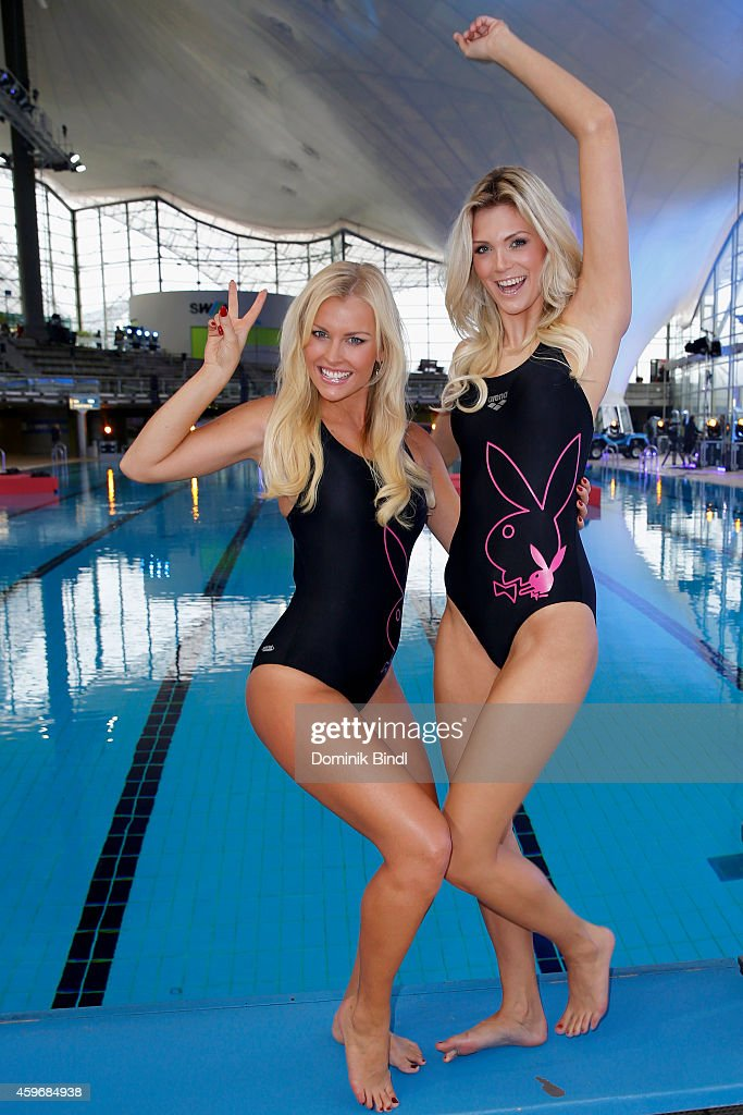 Denise Cotte and Delfina Aziri attend the TV Total Turmpringen photocall on November 28, 2014 in Munich, Germany.
