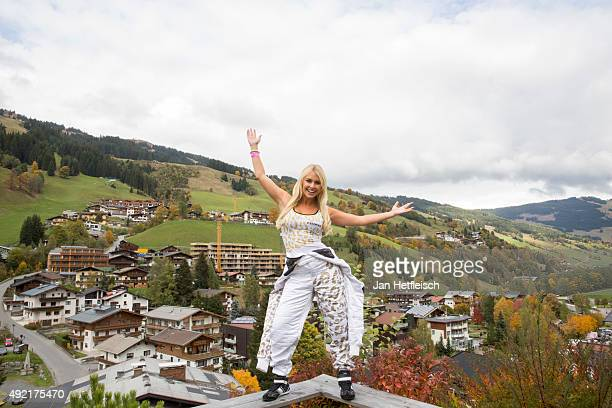 Denise Cotte poses for a picture during the Alpin Juwel Cart Trophy 2015 on October 10 2015 in SaalbachHinterglemm Austria