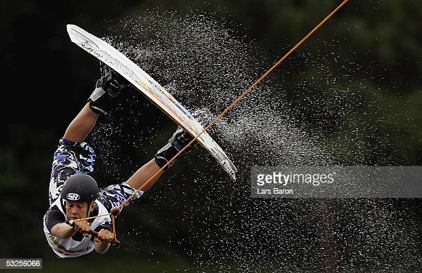Denise de Haan from Netherlands jumps during the World Games 2005 Wakeboard Competition on July 19 2005 in Duisburg Germany