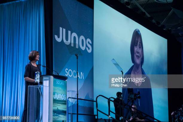 Denise Donlon receives the Walt Grealis Special Achievement Award at the Juno Gala Dinner and Awards at the Vancouver Convention Centre on March 24...