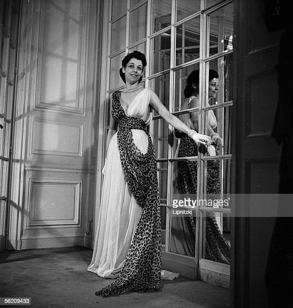 Denise Duval, French opera singer, in a dress by Christian Dior. May 1947.