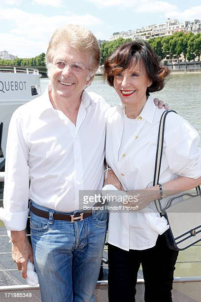 Denise Fabre and her husband Francis Vandenhende attend 'Brunch Blanc' hosted by Groupe Barriere for Sodexho with a cruise in Paris on June 30 France