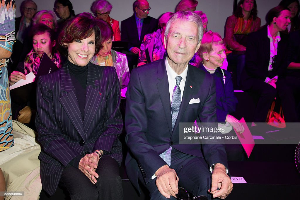 Denise Fabre and Jean Claude Narcy attends Leonard show, as part of the Paris Fashion Week Womenswear Spring/Summer 2014, in Paris.
