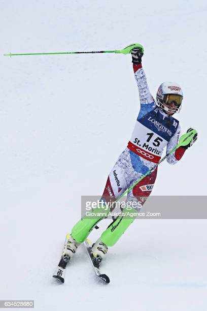 Denise Feierabend of Switzerland celebrates during the FIS Alpine Ski World Championships Women's Alpine Combined on February 10 2017 in St Moritz...