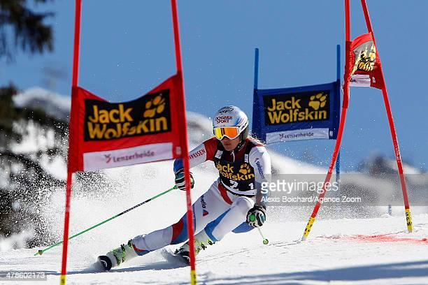 Denise Feierabend of Switzerland competes during the Audi FIS Alpine Ski World Cup Nation's Team Event on March 14 2014 in Lenzerheide Switzerland