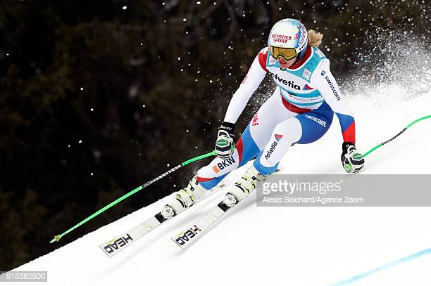 Denise Feierabend of Switzerland competes during the Audi FIS Alpine Ski World Cup Women's Super Combined on March 13 2016 in Lenzerheide Switzerland