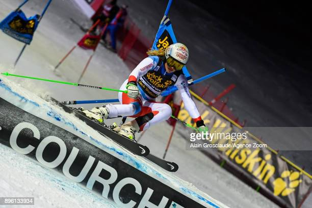 Denise Feierabend of Switzerland competes during the Audi FIS Alpine Ski World Cup Women's Parallel Slalom on December 20 2017 in Courchevel France