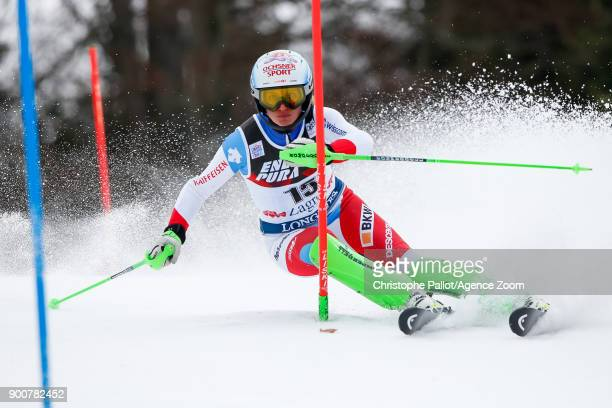 Denise Feierabend of Switzerland competes during the Audi FIS Alpine Ski World Cup Women's Slalom on January 3 2018 in Zagreb Croatia