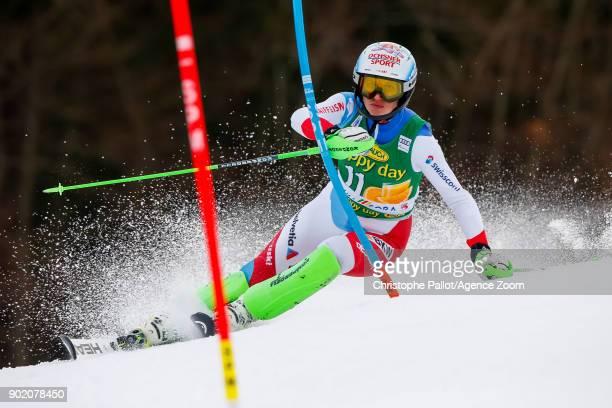 Denise Feierabend of Switzerland competes during the Audi FIS Alpine Ski World Cup Women's Slalom on January 7 2018 in Kranjska Gora Slovenia