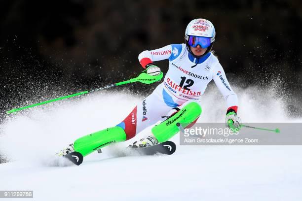 Denise Feierabend of Switzerland competes during the Audi FIS Alpine Ski World Cup Women's Slalom on January 28 2018 in Lenzerheide Switzerland
