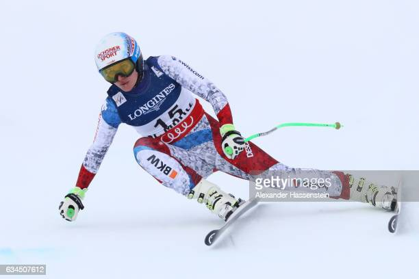 Denise Feierabend of Switzerland competes during the Women's Combined Downhill during the FIS Alpine World Ski Championships on February 10 2017 in...