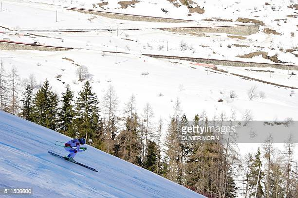 Denise Feierabend of Switzerland competes in the FIS Alpine Skiing World Cup Women's Super G on February 21 2016 in La Thuile northern Italy AFP...
